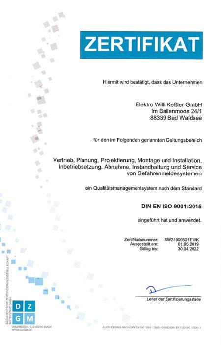 QM Zertifikat Elektro Keßler GmbH Bad Waldsee